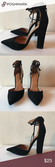 Black lace up heels These are beautiful high heels that unfortunately got the wrong size. These can be worn super casual or going out on the town. Just wanna clean out my closet  Size: 8 1/2 Shoes Heels