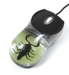 Dyed Black Scorpion Computer Mouse with Glow in the Dark Background It is sooooo cool, it has a real scorpion in it that lights up in a variety of different colours . It has a USB connection. It is an awesome  conversation piece.  http://awsomegadgetsandtoysforgirlsandboys.com/awesome-gadgets-for-guys/ Awesome Gadgets For Guys: Dyed Black Scorpion Computer Mouse with Glow in the Dark Background