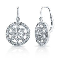 14k White Gold Diamond Wheel Earrings - Carol Klein