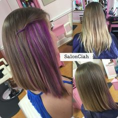 Purple Peekaboo And Highlights Hair By Kenna Mac Hair Purple
