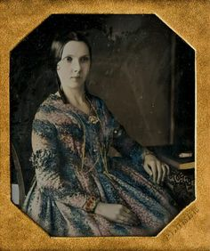chubachus:Hand-colored daguerreotype portrait of an unidentified woman, c. 1850. By John Plumbe, Jr.Source.