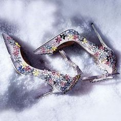 silver flowers Wedding Shoes