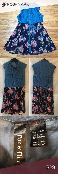💕HP💕 🆕 Denim & Floral Print-Chiffon Dress 3X Sleeveless Floral Denim Vintage Sheer Chiffon Dress. Love this combo kicky skirt/chambray shirt dress. Skirt is lined. Denim top, chiffon skirt, button up top collar and contrasting stitching and belted waist. 🆕 NWOT 💕HOST PICK 4-4-17💕 Fun & Flirt Dresses Midi