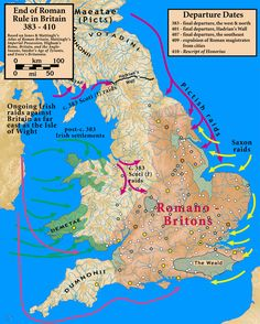 How Roman rule crumbled in Britain. As the empire slowly retreated in the fifth century AD, Roman Britain came under attack from the west, east and north. Uk History, Roman History, European History, British History, Tudor History, African History, History Facts, History Books, Map Of Britain