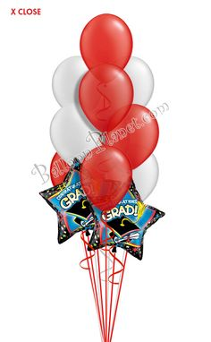 Red & Silver Grad Balloon Bouquet (12 Balloons) Burgundy And Gold, Purple Gold, Green And Gold, Blue And Silver, Graduation Balloons, Graduation Day, Birthday Balloons, Grad Parties, Birthday Parties