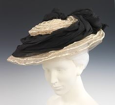 Hat Made of Horsehair, Straw, and Silk by Camille Roger, circa 1895.  Via The Metropolitan Museum of Art.