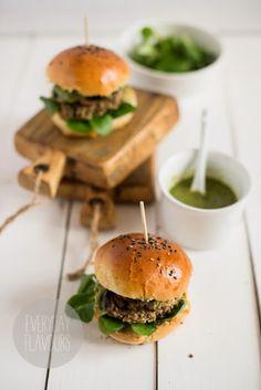 millet and mushroom burgers with parsley pesto