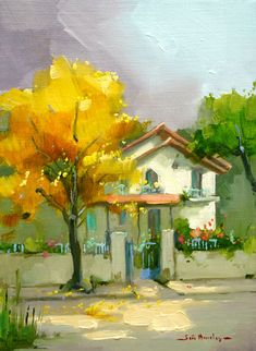 Casa Branca com Ipê Amarelo by Joao Barcelos (Brazilian) - Impressionist painting artist with expressionist touches, developed through soft and harmonious colors, seeking to explore all the beauty of the . Watercolor Landscape, Watercolour Painting, Painting & Drawing, Landscape Paintings, Abstract Landscape, Paintings I Love, Beautiful Paintings, Pinturas Em Tom Pastel, Illustration Art