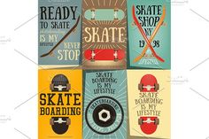Skateboard Posters Set by elfivetrov on @creativemarket