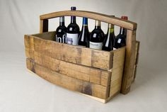 Napa Barrel Stave Magazine/Wine Basket by Alpine Wine Design on Scoutmob Shoppe Wine Barrel Crafts, Wine Bottle Crafts, Contemporary Baskets, Wine Barrel Furniture, Barrel Projects, Barolo Wine, Wine Craft, Wine Baskets, Bourbon Barrel