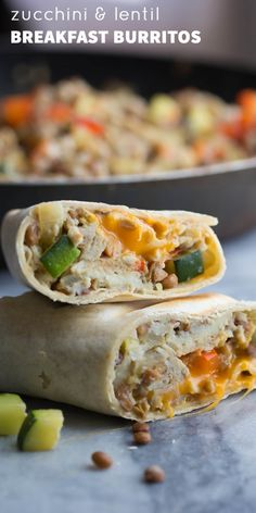 Healthy Breakfast Burritos with Zucchini & Lentils (Freezer), easy to make ahead, freeze and thaw as needed! Super filling and nutritious.