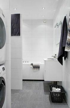 Large white tiles a bit clinical Best Bathroom Flooring, Gray And White Bathroom, White Bathroom Tiles, Bathroom Floor Tiles, Bathroom Toilets, Bathroom Wall Decor, Laundry In Bathroom, Grey Bathrooms, Bathroom Cabinets