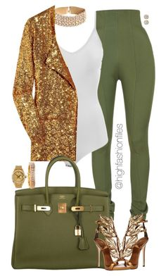 """Gold x Khaki"" by highfashionfiles ❤ liked on Polyvore featuring Balmain, Intimissimi, Halston Heritage, Hermès, Giuseppe Zanotti, Jose Hess, Hoorsenbuhs and Rolex"