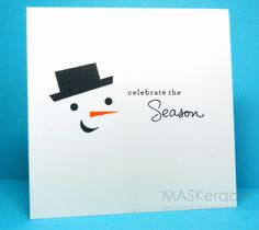 one layer card - snowman