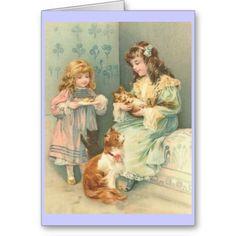 Little Girls With Cats Vintage Art Postcard Images Vintage, Art Vintage, Vintage Ephemera, Vintage Girls, Vintage Pictures, Vintage Postcards, Vintage Children, Vintage Prints, Illustrations Vintage