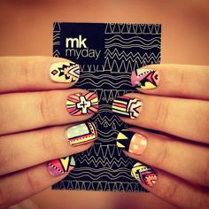 tribal nails - 65 Colorful Tribal Nails Make You Look Unique nail designs for short nails nail designs for short nails 2019 kiss nail stickers nail art stickers at home best nail polish strips 2019 Love Nails, How To Do Nails, Fun Nails, Pretty Nails, Style Nails, Crazy Nails, Sexy Nails, Beauty Nails, Hair Beauty
