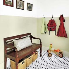 Mudroom tip: Fake wainscoting by painting with scrubbable semigloss enamel halfway up the wall