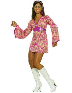 Women/'s Swinging 1960/'s Fancy Dress Costume Disco Hen Theme Party Lulu Cilla Fun