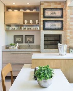 Very cozy Gourmet Balcony, with light wood furniture and brick covered barbecue. Beautiful design by Home Decor Furniture, Wood Furniture, Condo Balcony, Balcony Design, Herd, Small Places, House Goals, Kitchen Interior, Room Interior