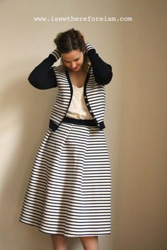 Striped midi skirt w
