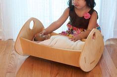 Modern Baby Doll Cradle Reserved for catlieberknecht by inaiinaiba, $100.00