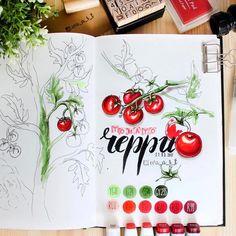 Тема красного раскрыта полностью у @eva_a_r_t ✌️❤️ в главных ролях, маркеры touch, копики и семейка помидоров черри. А кто угадает модель скетч-бука? Пишите ваши варианты, первый угадавший получит приз от #touchmarkers 😎🌟🇰🇷
