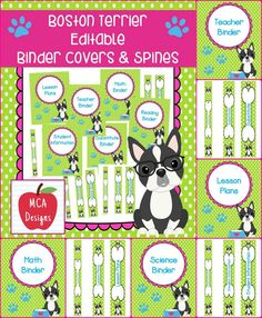 """This set of Boston Terrier themed binder covers and spines are part of my Boston Terrier classroom décor collection. In addition to my """"print"""