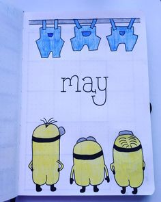 Bullet journal monthly cover page, May cover page, minions drawing. Bullet journal monthly cover page, May cover page, minions drawing. May Bullet Journal, Bullet Journal Cover Page, Bullet Journal Junkies, Bullet Journal Layout, Journal Covers, Bullet Journal Inspiration, Journal Pages, Minion Drawing, Cover Pages