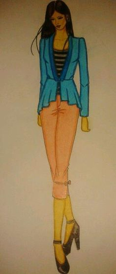 #blazer #blue #fashionillustrations