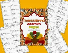 Thanksgiving themed addition practice pages FREEBIE!
