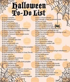 """Halloween To-Do List.more like """"October To-Do List"""" since not all of these are connected to Halloween.but fun list! Halloween Tags, Happy Halloween, Feliz Halloween, Halloween Buckets, Theme Halloween, Halloween Activities, Holidays Halloween, Halloween Crafts, Halloween Decorations"""