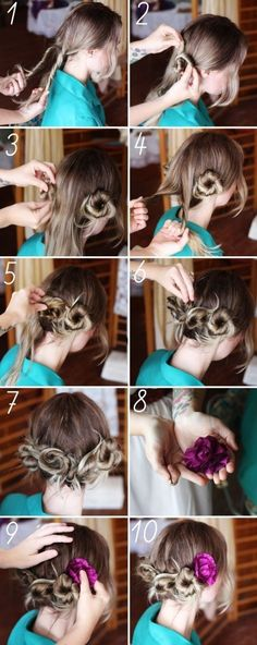 Pretty Flower Updo. Since I hardly ever style my hair it really is a DIY project!