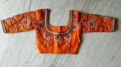 Orange embroidered blouse