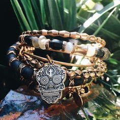 ALEX AND ANI Celebration of Life Collection | Calavera Charm bangle | Nightfall United Beaded bangle | Nightfall Independence Beaded Bangle |