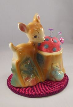 Vintage Bambi Disney Planter with Needle Felted Pin Cushion Another reason to shop thrift stores!