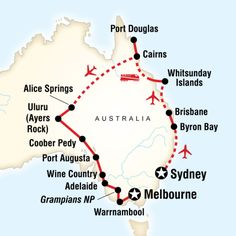 Map of the route for Australia in Style (G Adventures) Lake Hillier, Australia Travel Guide, Australia Trip, Australian Road Trip, Travel Route, Travel Oz, Pink Lake, Working Holidays, Sailing Trips