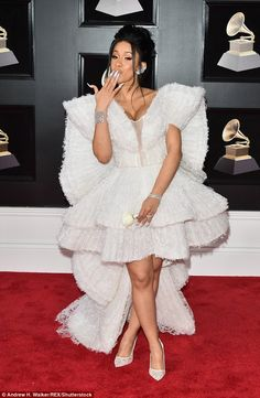 Cardi B reveals her nerves as she arrives for the Grammys | Daily Mail Online