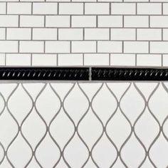 Merola Tile Trenza Nero Moldura 1 in. Ceramic Rope Pencil Wall Trim - The Home Depot Arabesque, Mosaic Tiles, Wall Tiles, Metro Subway, Traditional Lanterns, Fluid Design, Tile Trim, Tile Projects, Ceramic Materials