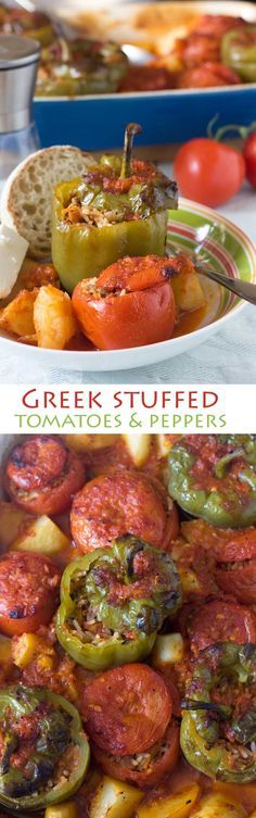 stuffed peppers and tomatoes Greek stuffed tomatoes and peppers - this Greek 'peasant' meal is still popular for a reason!Greek stuffed tomatoes and peppers - this Greek 'peasant' meal is still popular for a reason! Greek Stuffed Peppers, Stuffed Tomatoes, Vegetable Recipes, Vegetarian Recipes, Cooking Recipes, Healthy Recipes, Healthy Greek Recipes, Greek Cooking, Greek Dishes