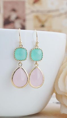 Mint and Pink glass drops earrings from EarringsNation Mint Weddings Pink Weddings Mint + Pink, Mint + Gold, Pastel Weddings
