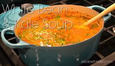 White Bean Kale Soup (Gluten Free Recipe) by certified holistic health coach Elizabeth Rider. Get more free recipes at www.elizabethrider.com