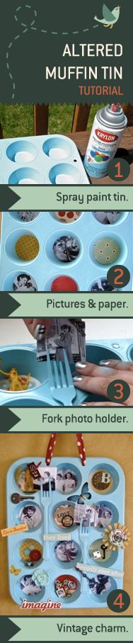 This altered muffin tin is an inexpensive project that holds a lot of vintage charm. Tutorial.