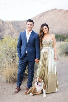beautiful desert engagement shoot-- with an adorable pup, too!
