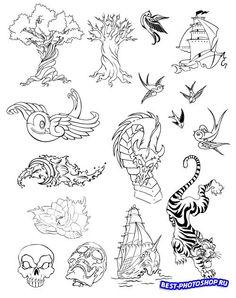 Татушки дерево, дракон, корабль (Вектор)