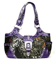 Western Purple Camouflage Buckle Concealed Purse