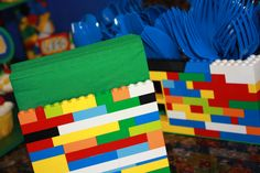 Lego party decorations -napkin and silverware holders.
