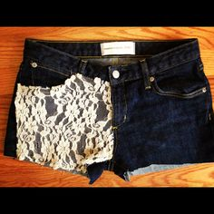 DIY Lace Shorts -Cut old jeans into shorts  -Cut lace shirt in pattern to match front of shorts. -Place and sew Simple & Easy