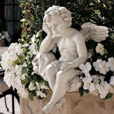 Adding a quiet presence to your landscape, the Design Toscano Mourning Mortality Sitting Cherub Sculpture is just what you need. This durable resin. Garden Angels, Angel Garden Statues, Bird Statues, Outdoor Sculpture, Garden Sculptures, Sculpture Ideas, Animes Wallpapers, Yard Art, Designer