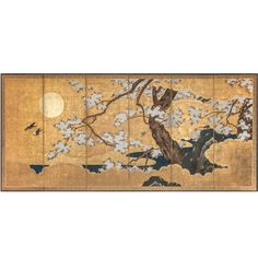 Japanese Screen Gold on Gold, Cherry Blossoms with Sun | From a unique collection of antique and modern paintings and screens at https://www.1stdibs.com/furniture/asian-art-furniture/paintings-screens/
