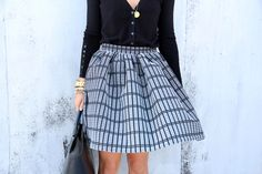 Cardigan tucked into a Circle Skirt. Cute and feminine!